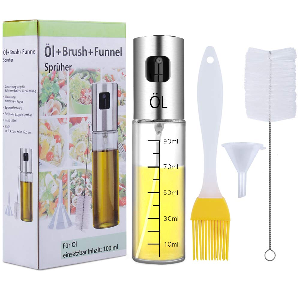 Olive Oil Sprayer with Free Tube Brush Ninonly 3.42-Ounce Glass Transparent Portable Spray Bottle Vinegar Bottle Olive Oil Dispenser Cooking Food-Grade Oil Sprayer Misters Air Fryer Stainless Steel