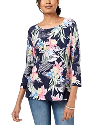 dcb04cfc2 JM Collection Printed Jacquard Top (Intrepid Island Remix