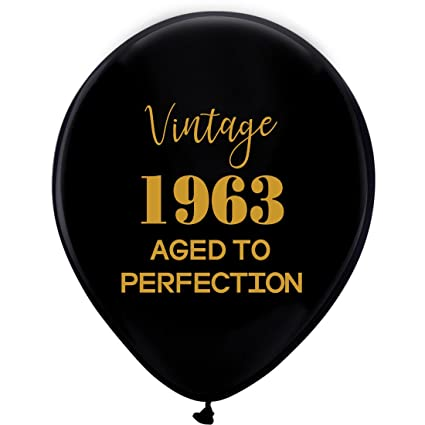 Black Vintage 1963 Balloons 12inch 16pcs Men And Women Gold 55th Birthday Party