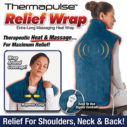 Massaging Heat Pad (New! Thermapulse Relief Wrap In Blue Extra-Long Massaging Heat Wrap)