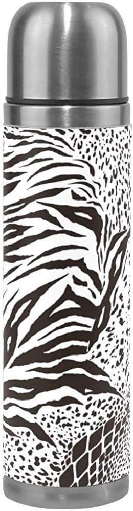 Ciciera-Shop Negro Blanco Mixto Animal Print Lion Botella De Agua Frasco De Vacío con Aislamiento De Acero Inoxidable A Prueba De Fugas Embalaje De Cuero Termo