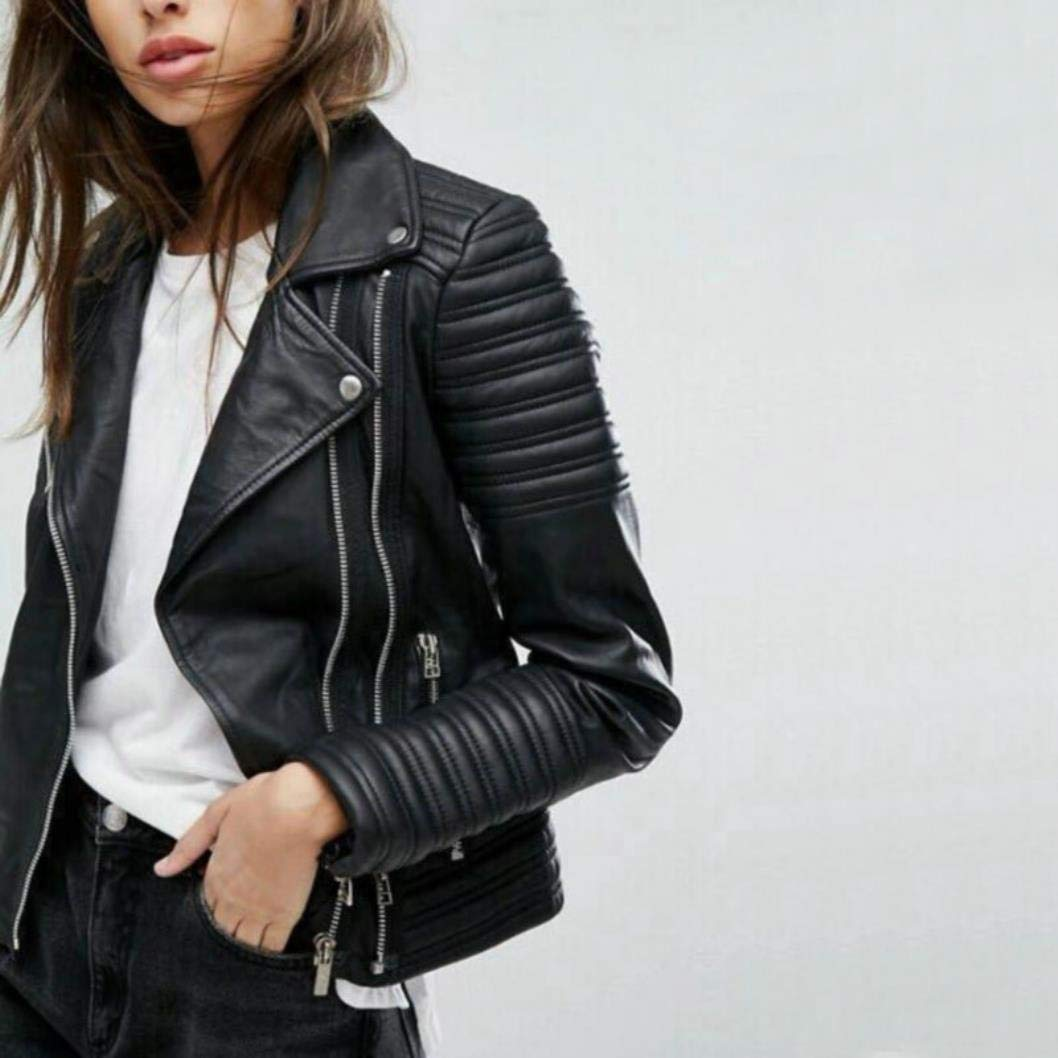 MGXXH New Smooth Motorcycle Faux Leather Jackets Ladies Long Sleeve Autumn Biker Coat