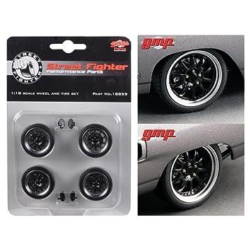 Reifen und Felgen Street Fighter schwarz für 1:18 Modelle 4 Reifen mit Felgen