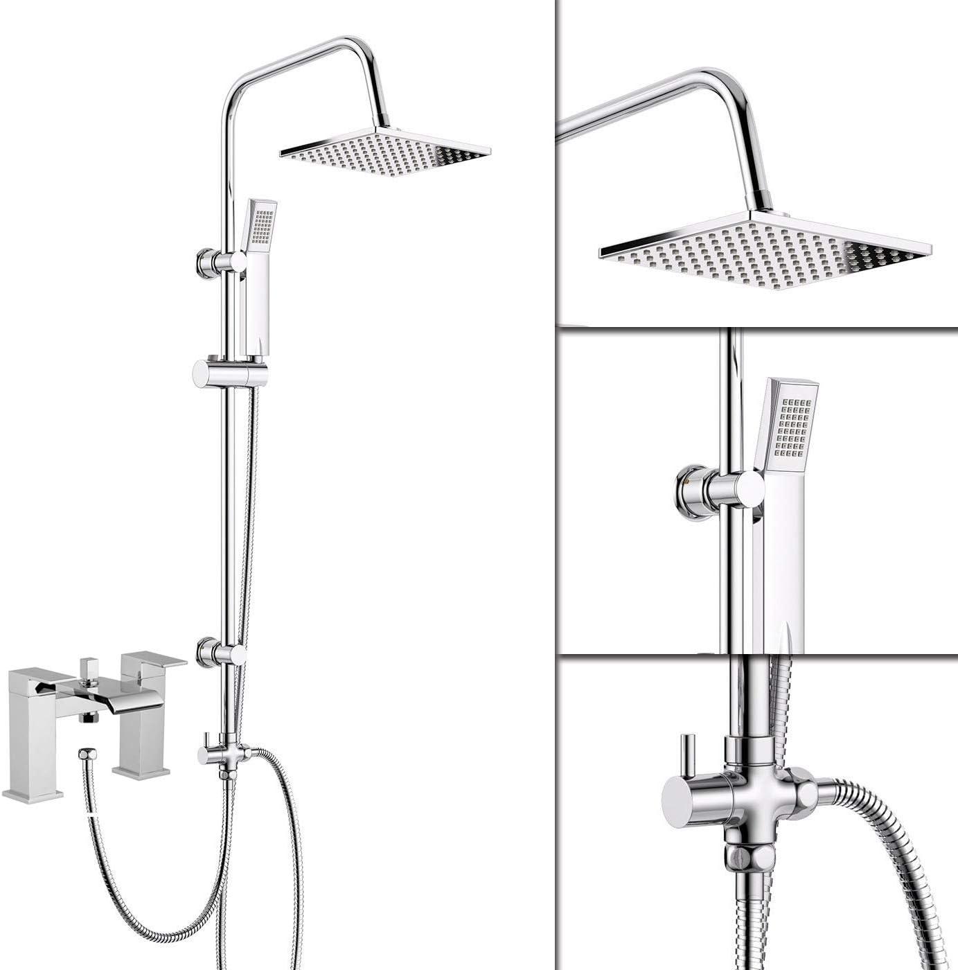 Bath Shower Mixer Tap /& Square 3 Way Shower Rigid Riser Kit Chrome Modern
