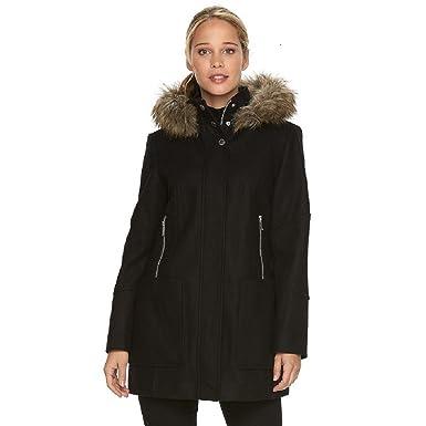 Amazon.com: London Fog Women's Wool-Blend Parka with Faux-Fur Hood ...