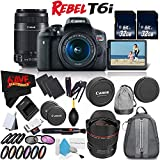 6Ave Canon EOS Rebel T6i DSLR Camera w/18-55mm Lens International Version (No Warranty) + Canon 55-250mm IS STM Lens + Canon EF 14mm f/2.8L II USM Lens 2045B002 + Deluxe Cleaning Kit Bundle