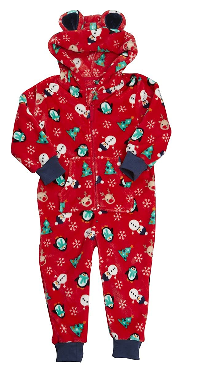OneZee Children's Unisex Novelty Christmas Hooded Fleece Jumpsuits For Kids - Ages 2-13