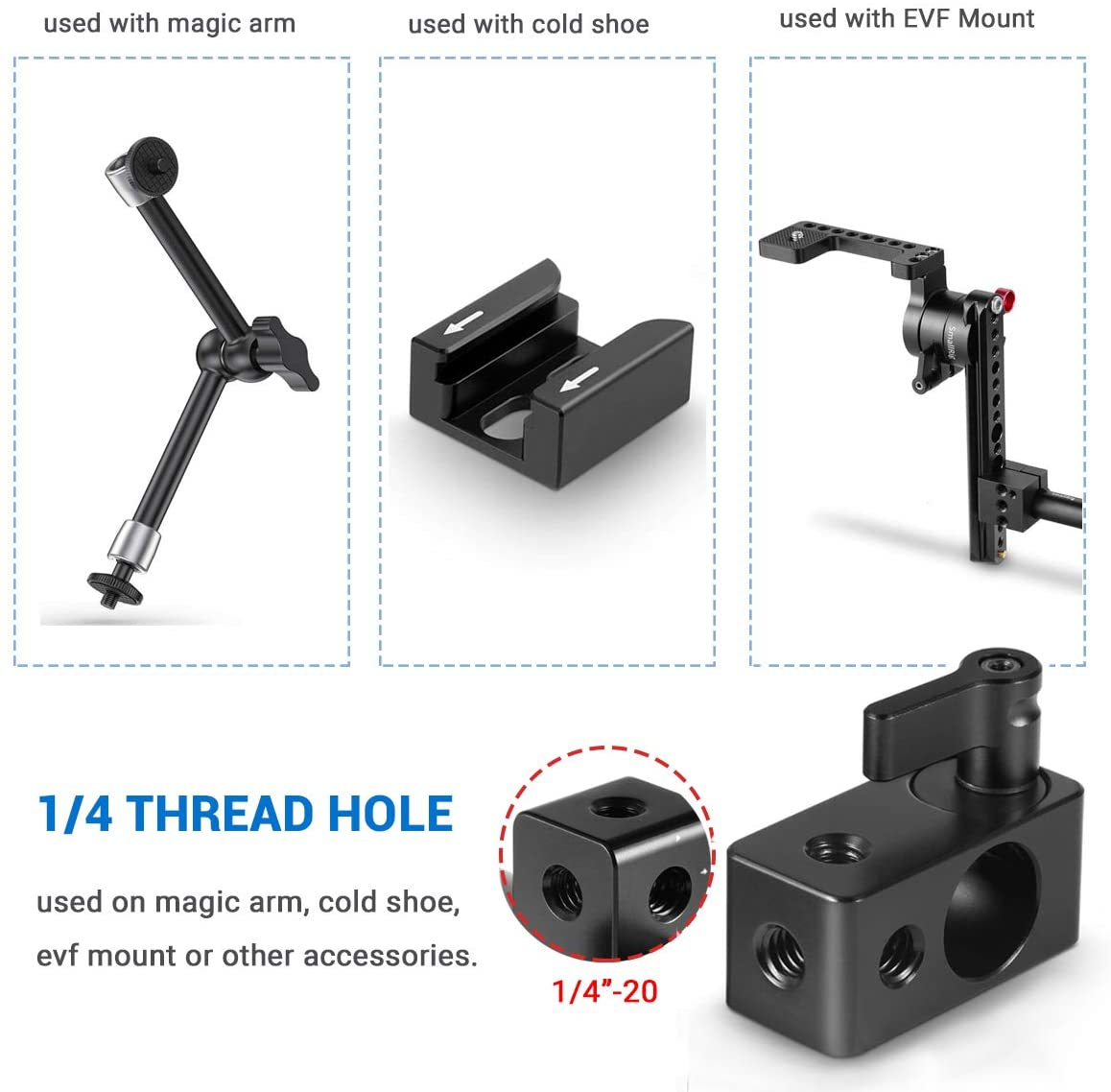 SMALLRIG 15mm Rod Clamp Rail Connector Adapter with 1//4/'/' Threads for DSLR Rig 843