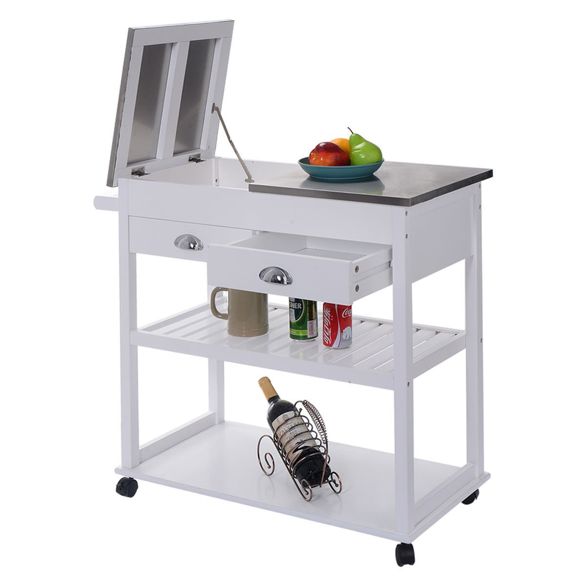 Amazon com eminentshop rolling kitchen trolley cart stainless steel flip top w drawers white kitchen islands carts