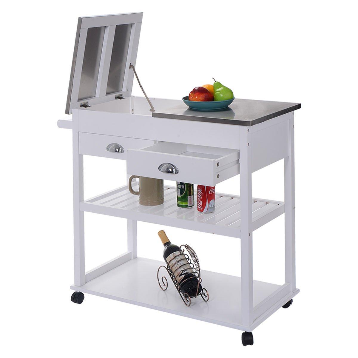 Eminentshop Rolling Kitchen Trolley Cart Stainless Steel Flip Top W/Drawers White by Eminentshop