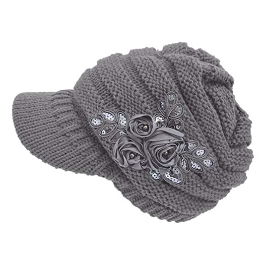 JESPER Women s Cable Knit Visor Hat with Flower Accent Grey at ... 584467aa78c