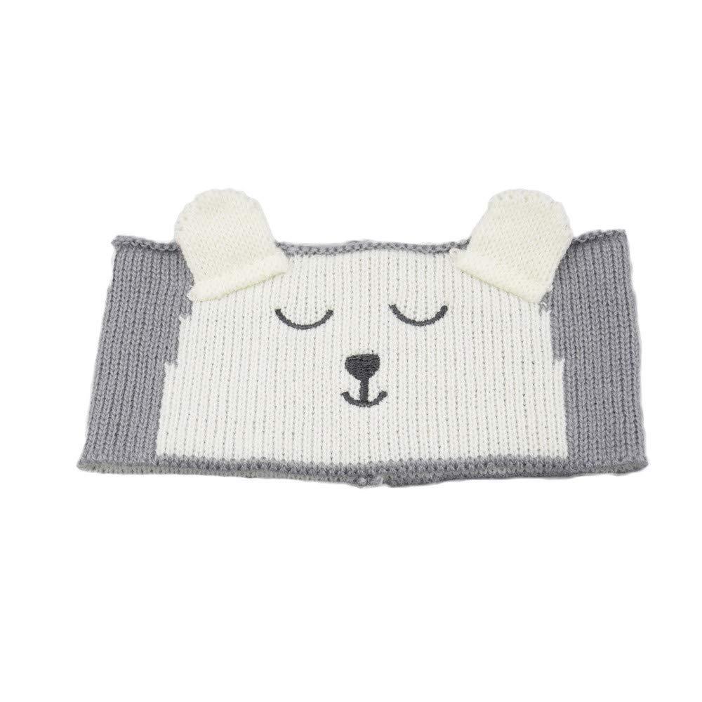 NUWFOR Cute Kids Baby Girls Toddler Knit Turban Hair Band Headwear Headband Accessories Gray