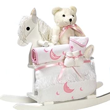 Amazon.com : White Rocking Horse with New Baby Girl Gift Set ...