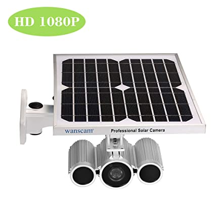 Wanscam Cámara Bala de Vigilancia HD 1080P WiFi Cámara IP Inalámbrico Solar y de Batería IR