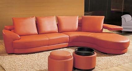 Amazon.com : Contemporary Orange Leather Sectional Sofa Set ...