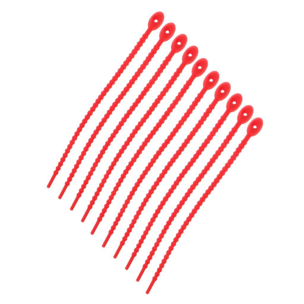 Guoyy 10PCS Silicone Bag Ties Cable Management All Purpose Multi Use Bag Clip Red