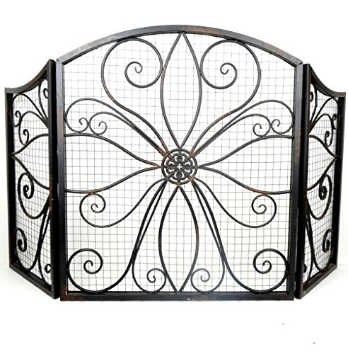 Distressed Black metal Scroll Design, Decorative Fireplace Screen 28