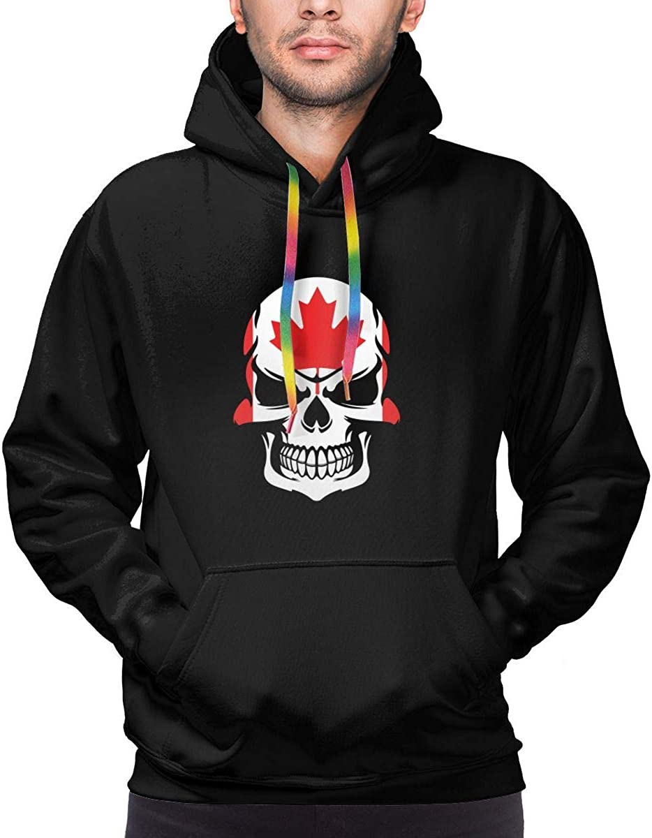 TB92ed/&CW Canadian Flag Skull Pullover Hoodie Mens Hooded Sweatshirts Long Sleeve Tops