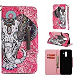 StarCity Case Samsung Galaxy J8 (2018) J810Y/DS, PU Leather Wallet Case Folio Flip Case Stand Cover Card Slots [Wrist Strap] Samsung Galaxy J8 (2018) (Elephant Red)