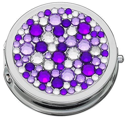 Bejeweled Pill Box with Compact Mirror and 3 Compartments (Purple)