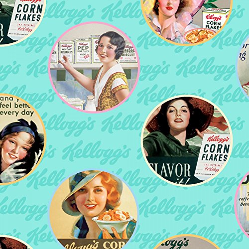 vintage-ladies-kelloggs-cereal-ads-on-blue-sold-by-the-yard-cotton-print