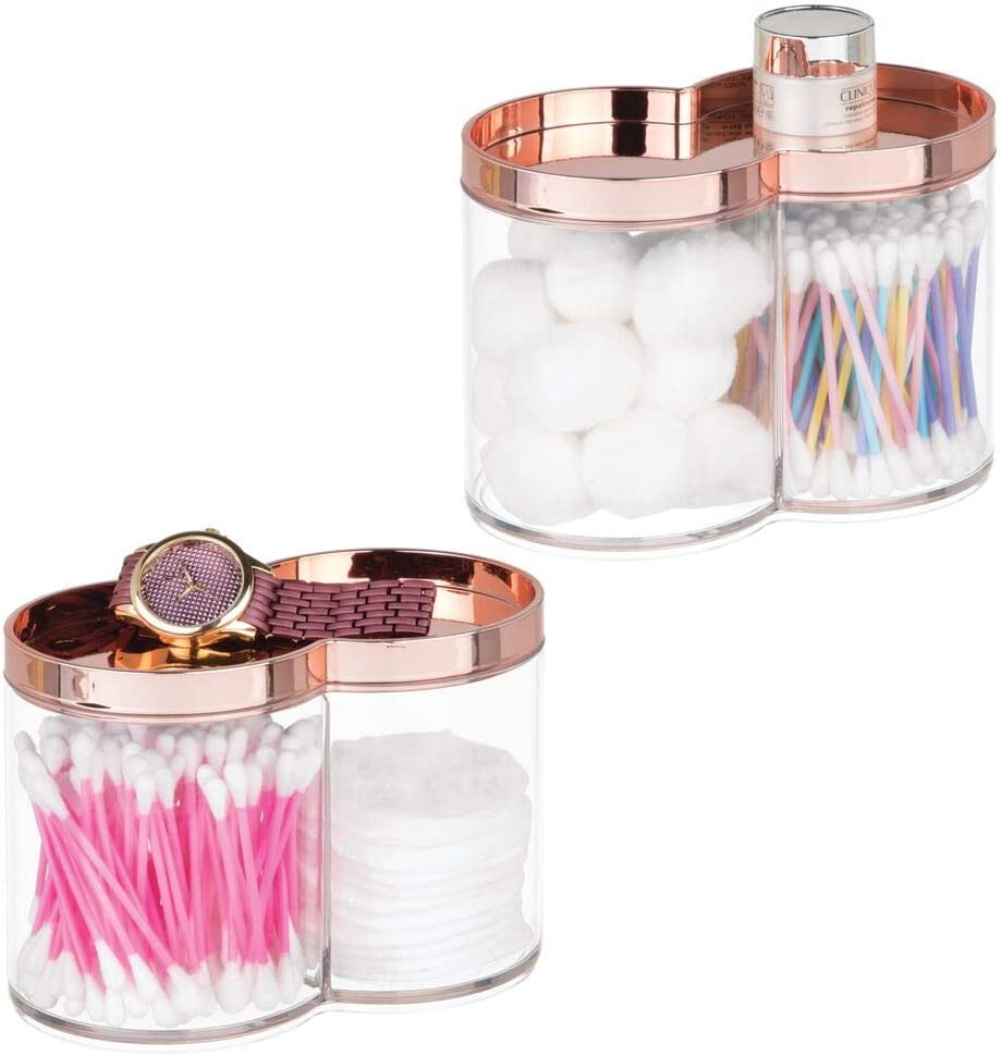 mDesign Plastic Bathroom Vanity Countertop Canister Jar with Recessed Storage Lid - Stackable, Divided, 2 Compartment Organizer for Cotton Balls, Swabs, Blenders, Bath Salts - 2 Pack - Clear/Rose Gold