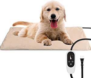 NICREW Pet Heating Pad for Dogs and Cats, Heated Pet Mat with Steel-Wrapped Cord and Soft Fleece Cover