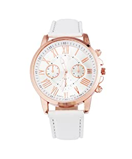 Loweryeah Womens White Artificial Lear Roman Numbers Rose Gold Color Dial Quartz Analog Watch24cm