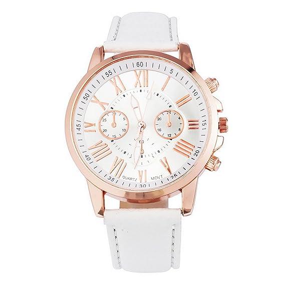 Mujer Reloj De Pulsera minimalismo estilo Quartz Reloj 3 Esfera Reloj analógico Quartz Blanco