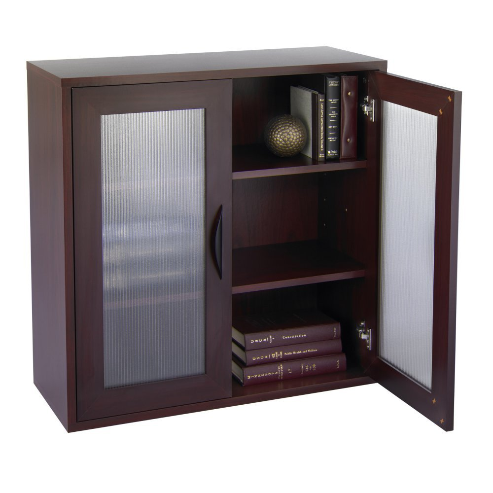 Amazon.com: Storage Bookcase with Glass Doors 30-in. High -: Kitchen &  Dining