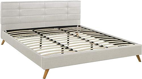 Divano Roma Furniture Mid-Century Linen Platform Bed Frame
