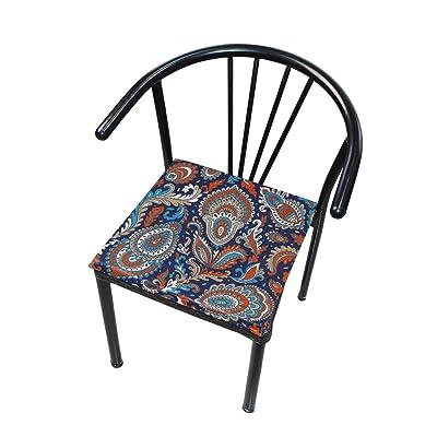 FICOO Home Patio Chair Cushion Indian Floral Mandala Square Cushion Non-Slip Memory Foam Outdoor Seat Cushion, 16x16 Inch: Home & Kitchen