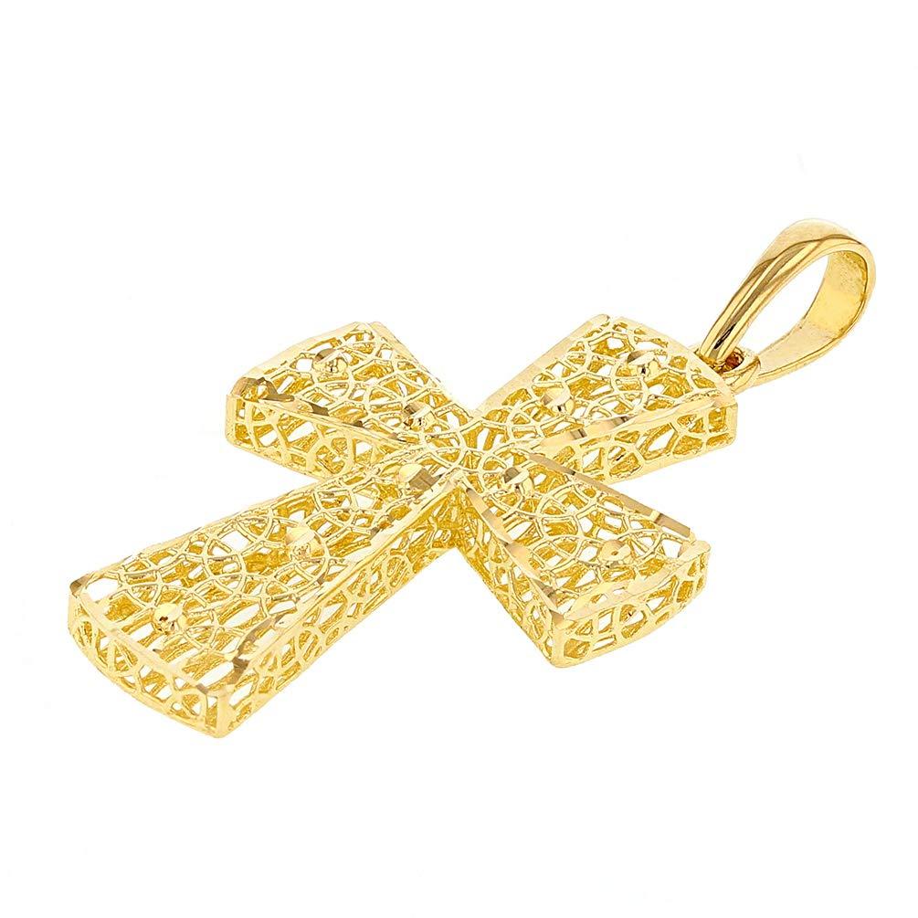 Medium 14k Yellow Gold Textured 3D Filigree Catholic Cross Pendant