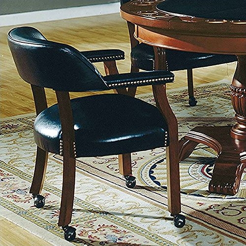 Steve Silver Company Tournament Captains Chair with Casters, Black, 25