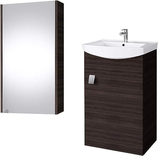 Planetmöbel Badmöbel Set Waschtisch + Waschbecken + Spiegelschrank Gäste Bad WC (Wenge) 1