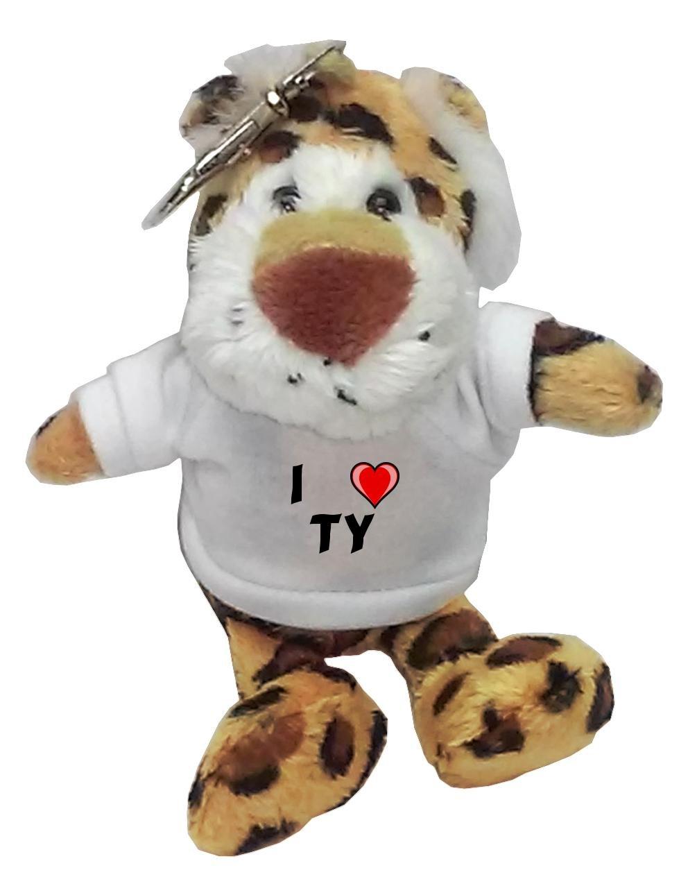 Leopardo de peluche (llavero) con Amo Ty en la camiseta (nombre de pila/apellido/apodo): Amazon.es: Juguetes y juegos