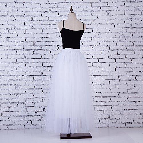 line Long Waist Layered Tutu Elasticated Donna Tulle Skirt FOLOBE A Estate bianca Primavera 40WwTgIq8