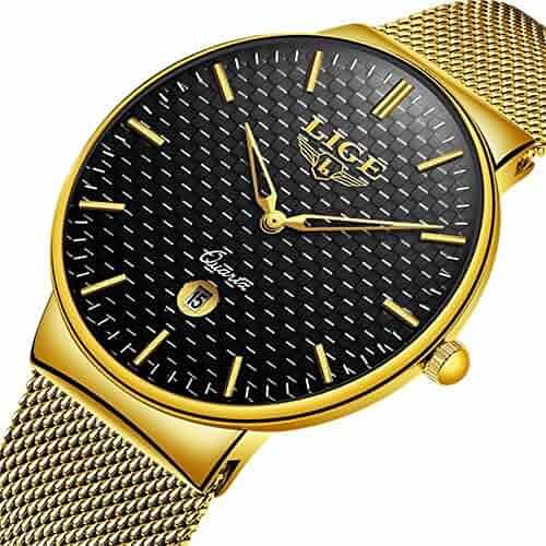 7895f1689 LIGE Men's Fashion Minimalist Wrist Watch Analog Black Date Gold Mesh Band  watch