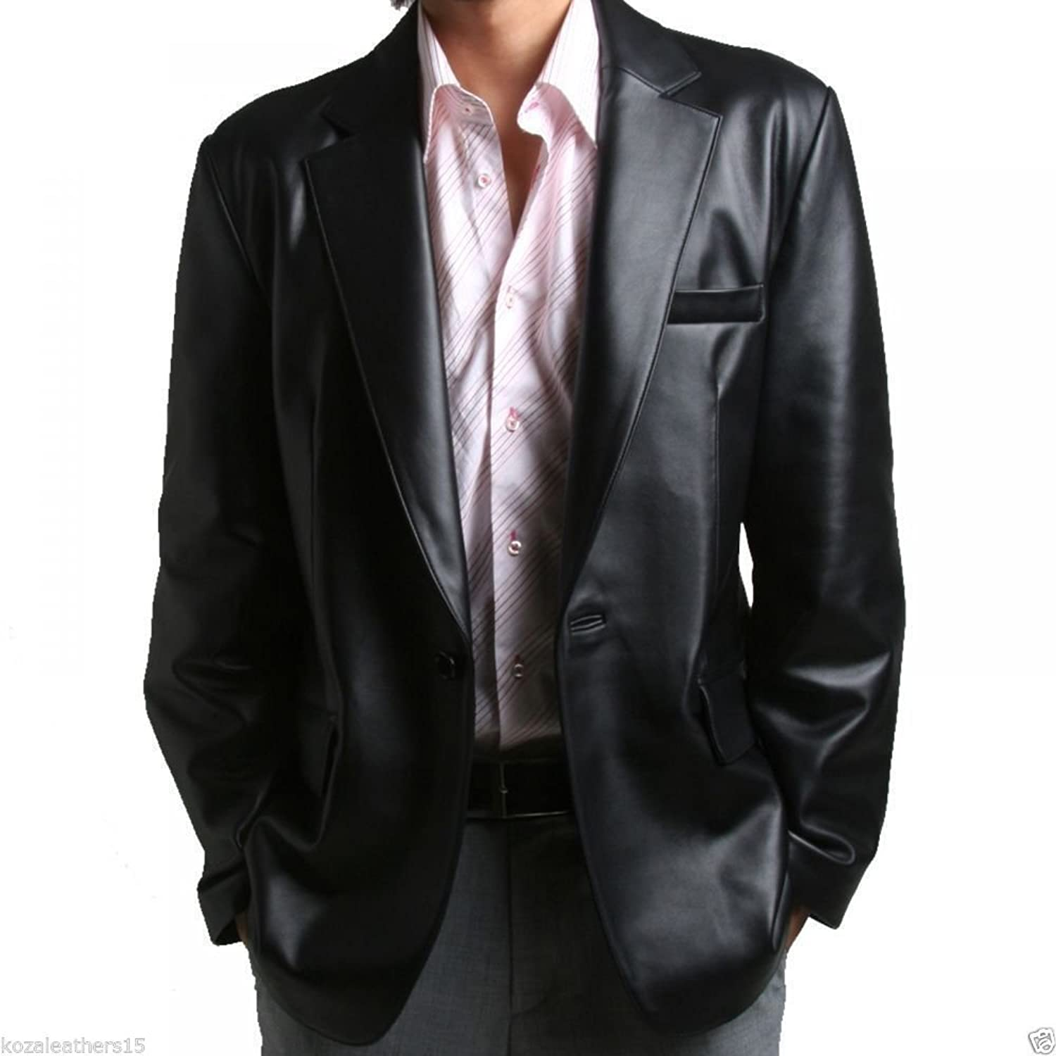 Royal Outfit Genuine Lambskin Leather Casual Blazer Coat - Black