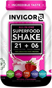 INVIGOR8 Superfood Protein Powder - Healthy Isolate Grassfed Whey Weight Loss Shake with Probiotics and Omega 3 (645 Grams) (Natural Strawberry)