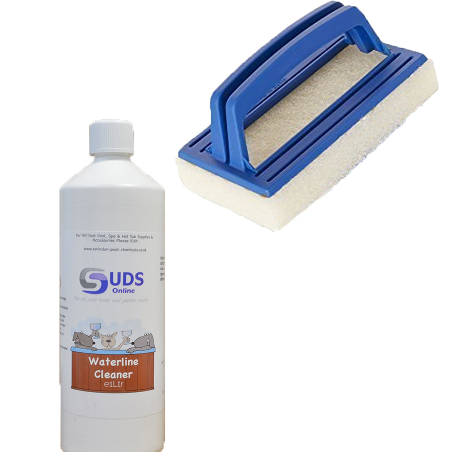 1L Spa Surface Cleaner Hot tub Waterline Spas Scum & Oil Remover With Brush SUDS-ONLINE