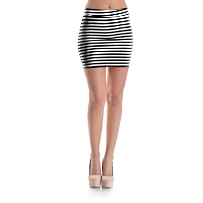 2LUV Women's Striped Patterned Body Conscious Mini Skirt