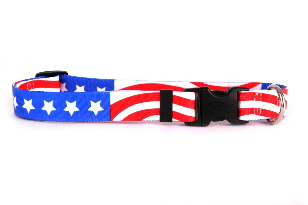 Medium 14\ Yellow Dog Design Americana Dog Collar Fits Neck 14 To 20 , Medium 1  Wide