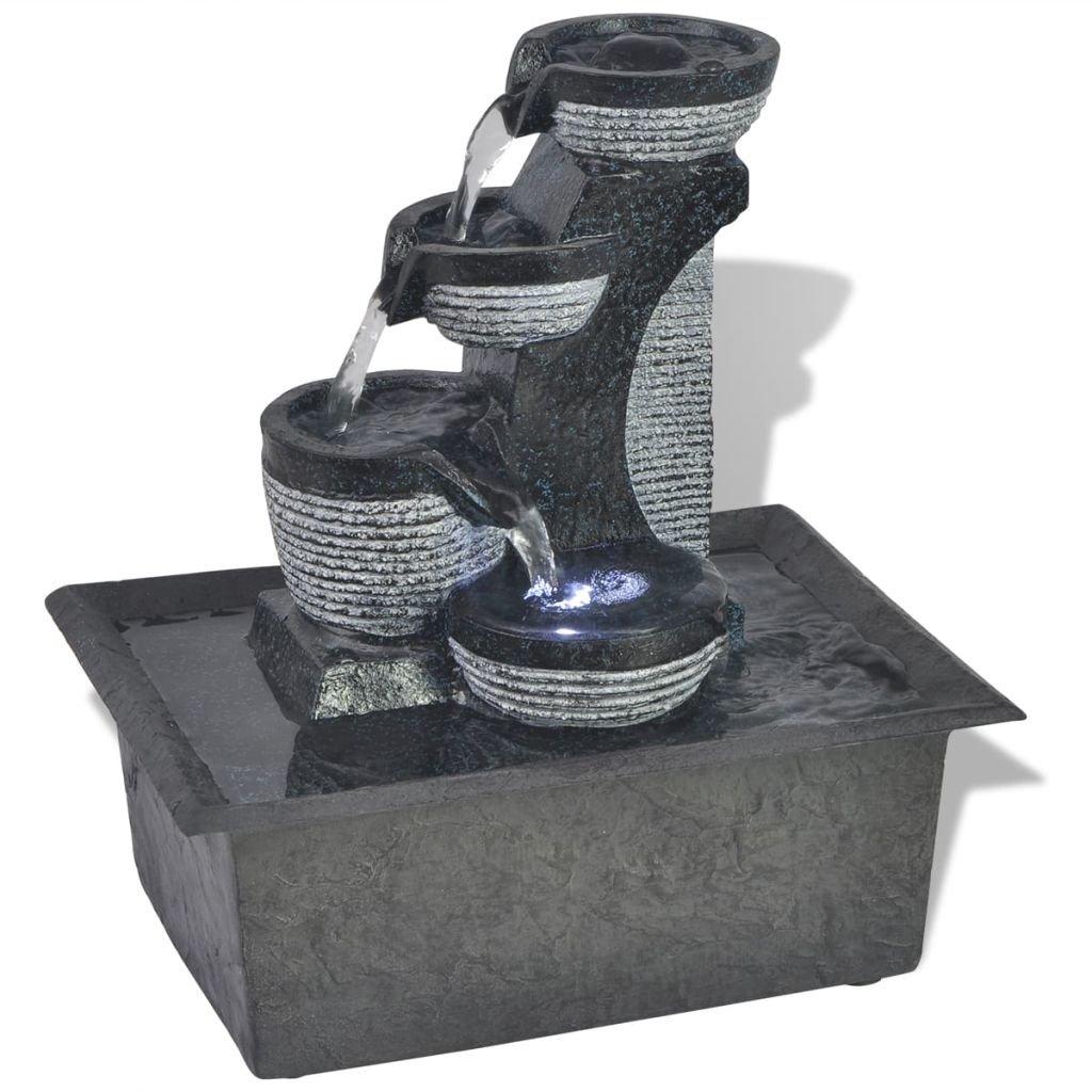 vidaXL Fuente Decorativa para Interior con Luz LED Poliresina Adorno de Agua