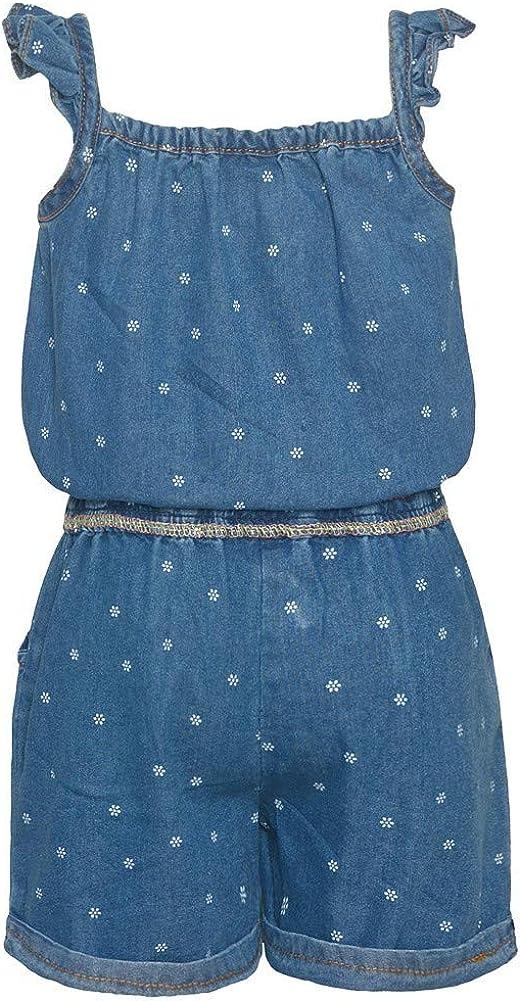 Real Love Little Girls Blue Tiny Flower Detailing Gathered Waist Romper 2T-6X