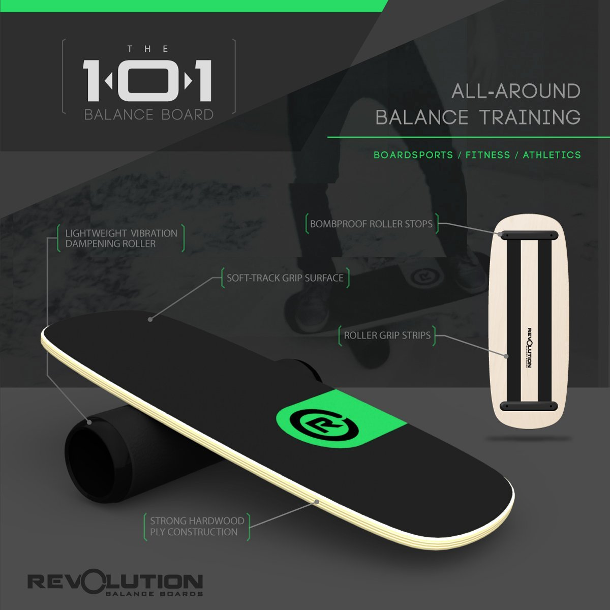 Revolution 101 Balance Board Trainer (Green) by Revolution Balance Boards (Image #3)