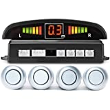 LED Car Parking Sensor Auto Reverse Assistance Backup Radar Detector System Silver Color 4 Sensors