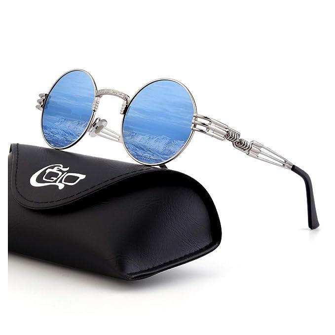CGID E73 Steampunk estilo retro inspirado círculo metálico redondo gafas de sol polarizadas para hombres