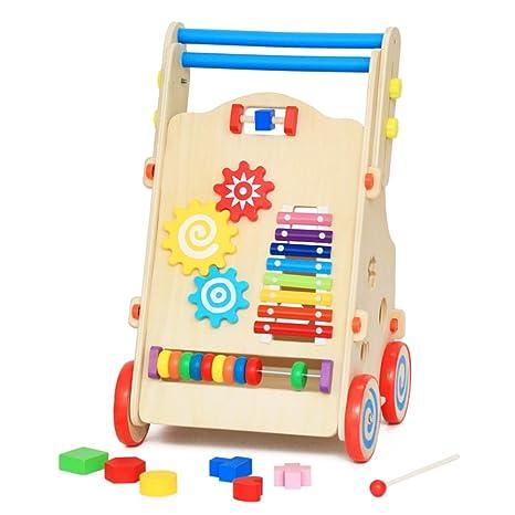 Carro de niño niño,Andador de madera multifuncional Coche ...