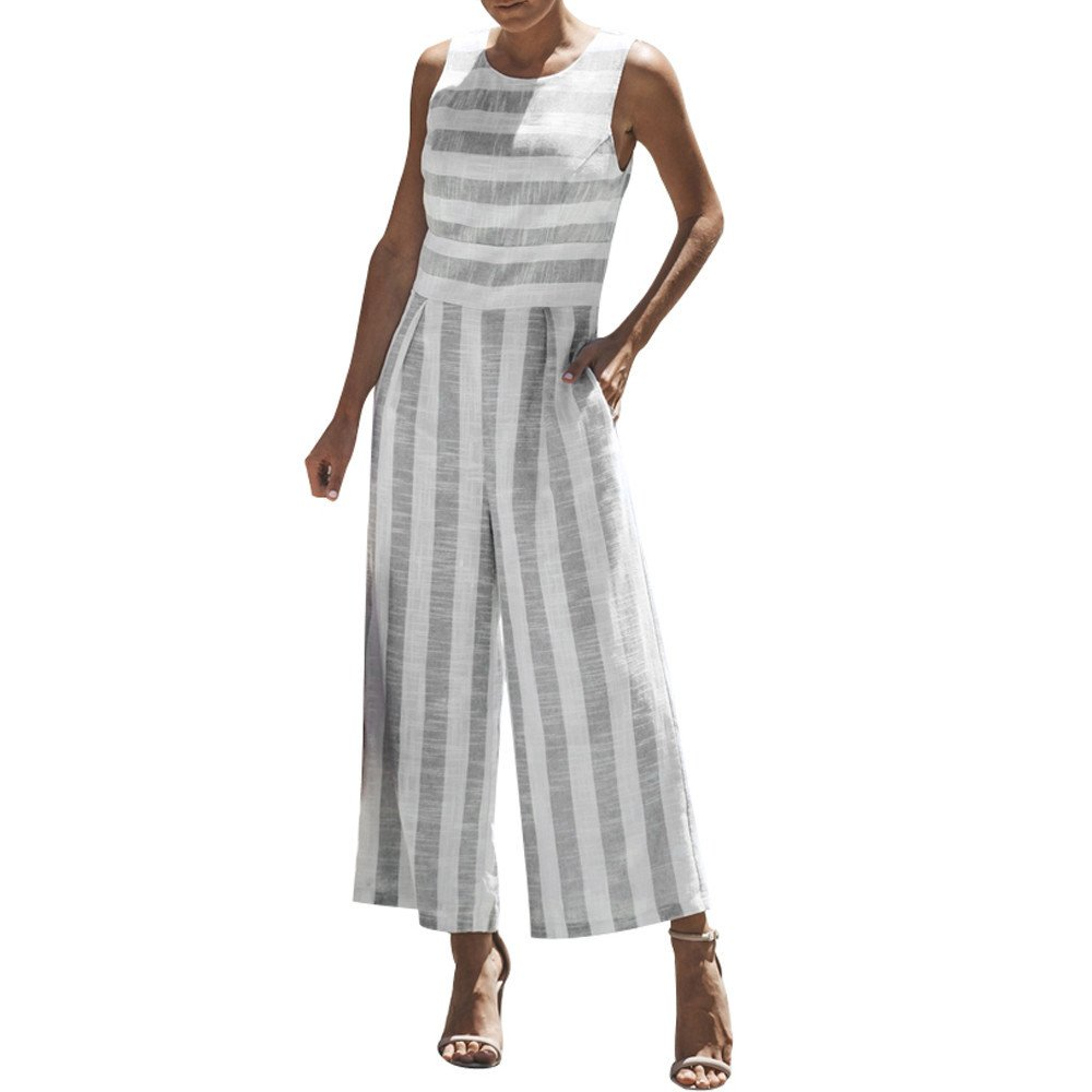 WUAI Womens Sexy Sleeveless Spaghetti Strap Striped Printed Harem Wide Leg Jumpsuit Beach Rompers Playsuit (Grey,Medium)